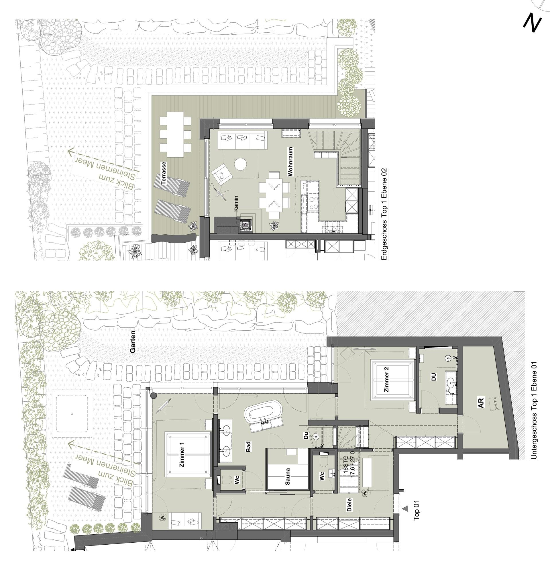 Grundriss Appartement Top 0 - Meer.Blick