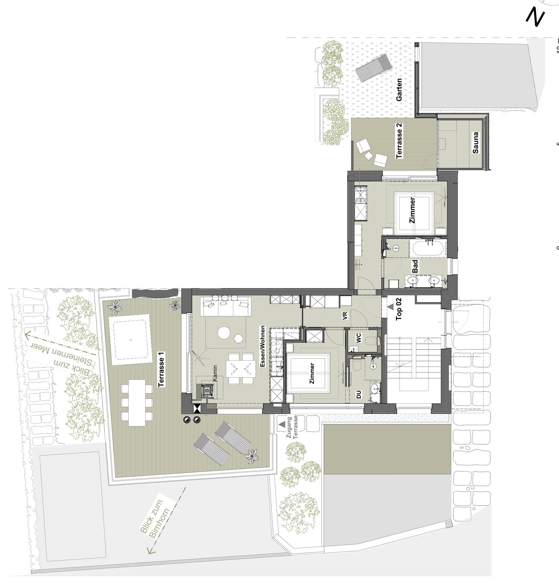 Grundriss Appartement Top 02 - Meer.Blick