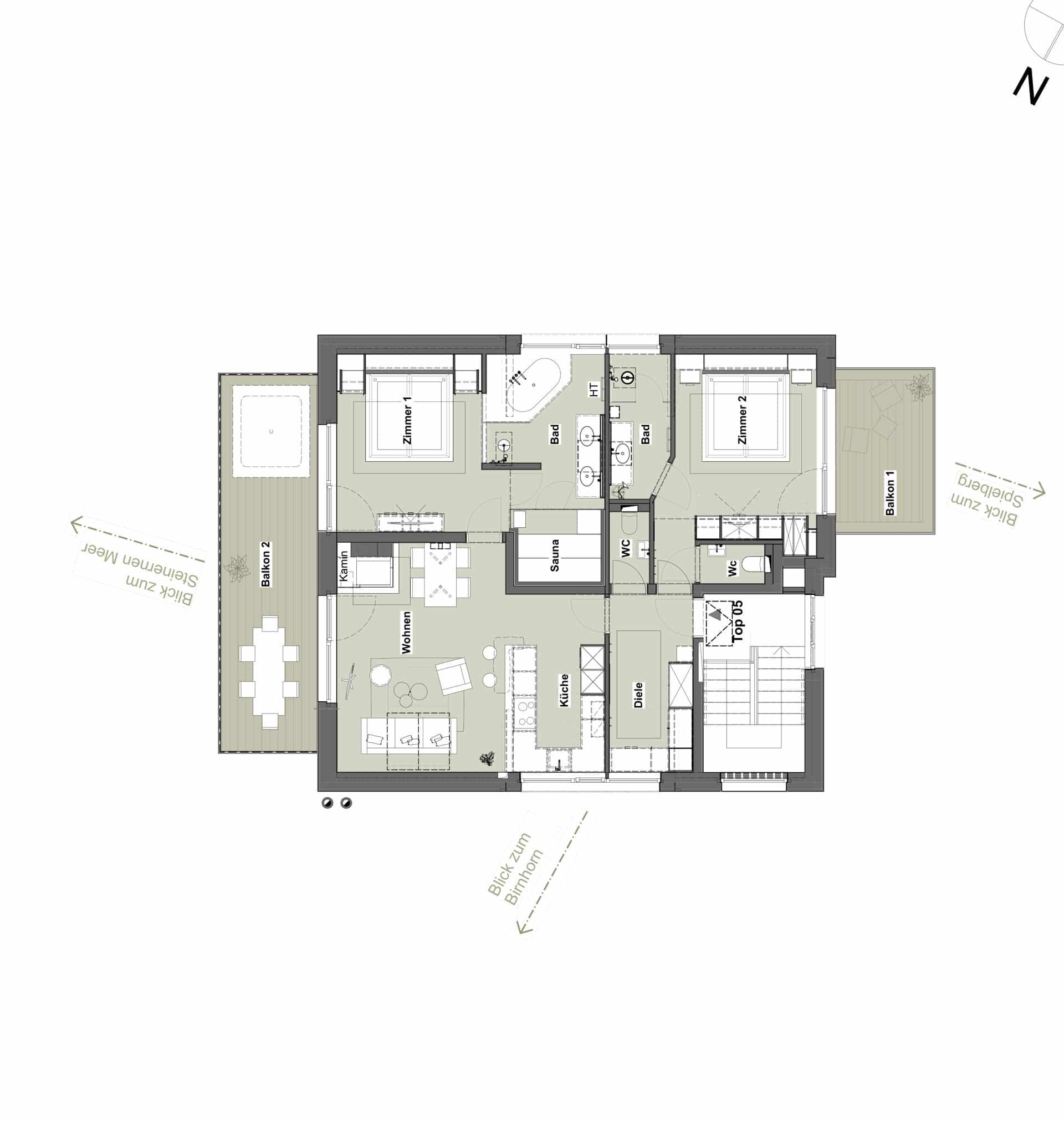 Grundriss Appartement Top 05 - Meer.Blick