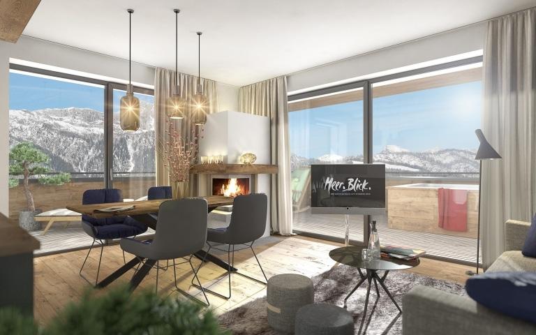 Wohnzimmer im Apartmenthaus Meer.Blick.